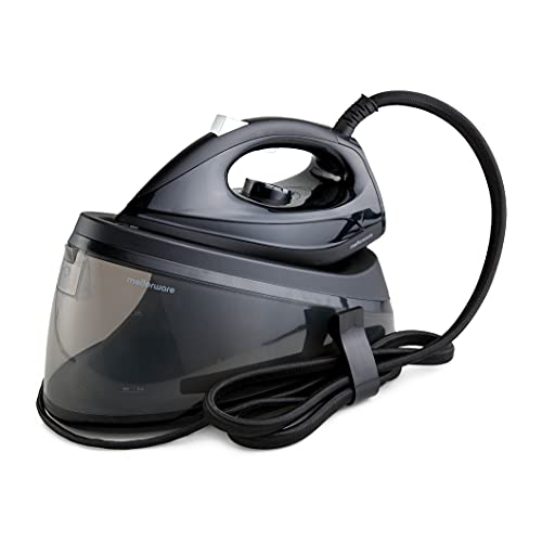 Mellerware Centro de planchado Flossy   Gran depósito agua 2L   Plancha vapor contínuo 90g/min   Suela cerámica   Temperatura regulable   Plancha ropa al instante (Black)