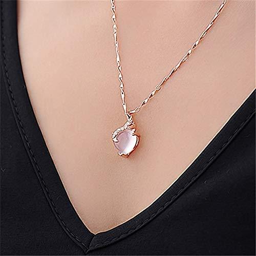 LXMYLI [[[[[corazón Ópalo Collares Y Colgantes Cadena De Color Oro Rosa Collar De Cristal Blanco Bijoux Femme Regalo para Amigos (Longitud: Aproximadamente 48 Cm)]],Null,en]]]