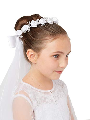 Girls White Pearl Rhinestone Center Floral Crown First Communion Flower Girl Head Wreath with Veil #791