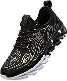 BRONAX Hombre Zapatos para Correr en Montaña y Asfalto Aire Libre y Deportes Zapatillas de Gimnasio Trail Running Padel Deportivas Calzado Negro Gold 42