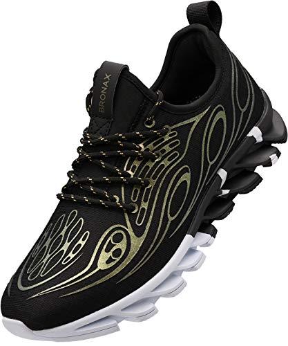 BRONAX Herren Turnschuhe Sportschuhe Sneaker Jungen Männer Laufschuhe Traillaufschuhe Walkingschuhe Training Schuhe Tennisschuhe Zumba Running Leichte Gym Joggingschuhe Schwarz Gold 40 EU (41 Asien)