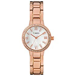 Rose Gold-Tone/MOP Analog Bracelet Watch with Swarovski Crystals