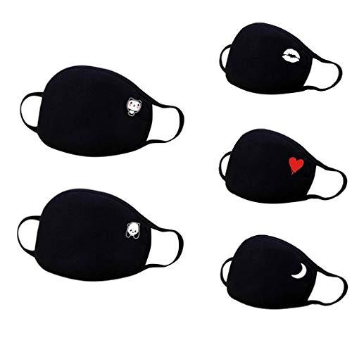 5 STK Mundschutz mit Motiv waschbar mundbedeckung Baumwolle Atmungsaktive Gesichtsschutz staubdicht gesichtabdeckung für Radfahren,Wiederverwendbar mundschutz Für Männlich Frau