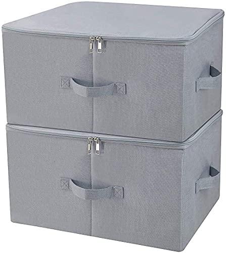 Wyxy 2 x Cajas de Almacenamiento Grises para Ropa Revista de Juguetes para el Dormitorio del Armario de la guardería de la Oficina en casa