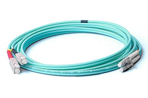 LWL Glasfaser-Kabel – 0,5m OM3 LC auf SC Stecker, Duplex 50/125 Patchkabel – Lichtwellenleiter 0,5 Meter