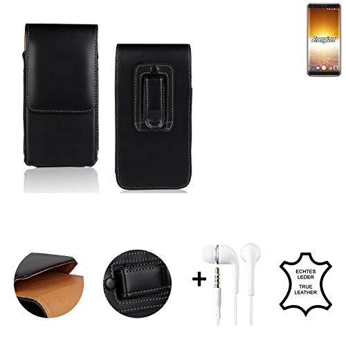 K-S-Trade® Leder Gürtel Tasche + Kopfhörer Für Energizer P600S Seitentasche Belt Pouch Holster Handy-Hülle Gürteltasche Schutz-Hülle Etui Schwarz 1x