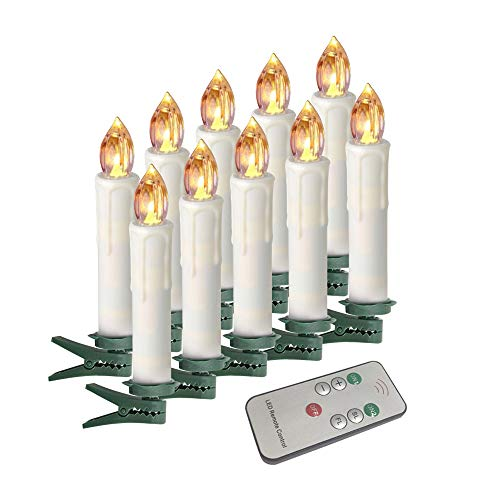 Houdlee LED Flameless Taper Candles with Remote Control and Removable Clips ,Flickering 4 Inches Birthday Candles ,Set of 10 Warm White Candle for Christmas , Chandelier, Mini Wedding Taper Candles