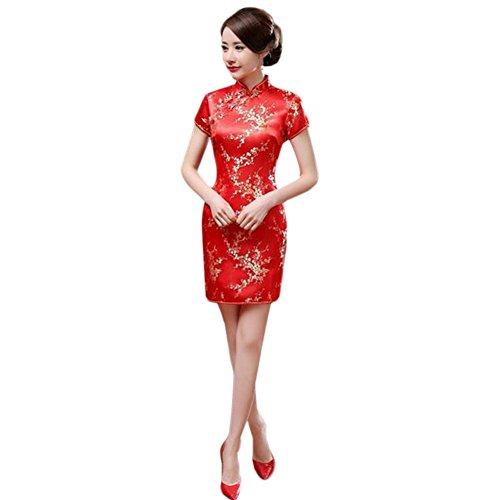Hzjundasi Chino Tradicional Mujer Retro Floral Impreso Mangas Cortas Cheongsam Brocado Qipao Vestido de Noche L