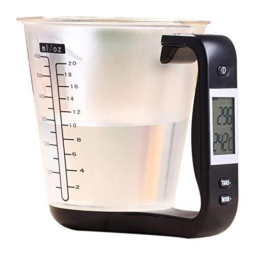 Vaso de medición Escalas de cocina Vaso de precipitados digital Libra Escala de herramienta electrónica con pantalla LCD Temperatura Negro y transparente