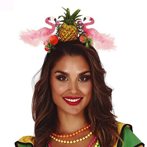 NET TOYS Tropischer Ananas Haarreif mit Flamingo - Aufregendes Party-Accessoire Samba Kopfschmuck Paradies-Vogel - EIN Blickfang für Karneval & Mottoparty