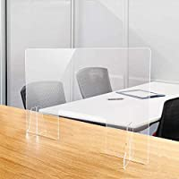 飛沫防止 透明アクリルパーテーション 高透明キャスト板採用 厚さ5mm 対面式スクリーン デスク用仕切り板 飛沫感染防止 デスク用スクリーン間仕切り 角丸加工 設置簡単 (約幅900mmx高さ600mm 窓あり)