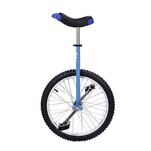 KEYZEA 16 inch Unicycle for Kids,Adjustable Outdoor Unicycle with Aolly Rim and Stand-Blue