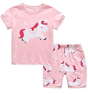 MIXIDON Niña Pijamas Unicornio Infantil Verano Ropa Chica Manga Corta(Unicornio1,5 años)
