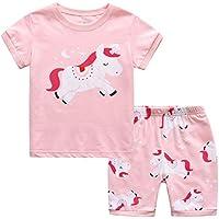 MIXIDON - Pijama corto de verano para niña, 100% algodón, talla 2-10 años Unicornio 1 8-9 Años