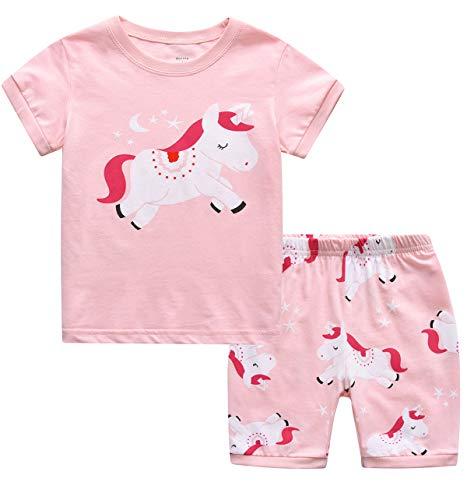 MIXIDON Niña Pijamas Unicornio Infantil Verano Ropa Chica Manga Corta(Unicornio1,6 años)
