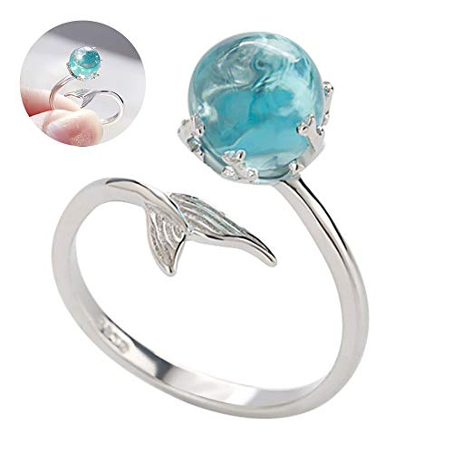 Gcroet Finger Spinner Thumb Ring Adjustable Mermaid Open Rings 925 Sterling Silver Wrap Around Twisted Rope Band Rings(Blue) 1pc