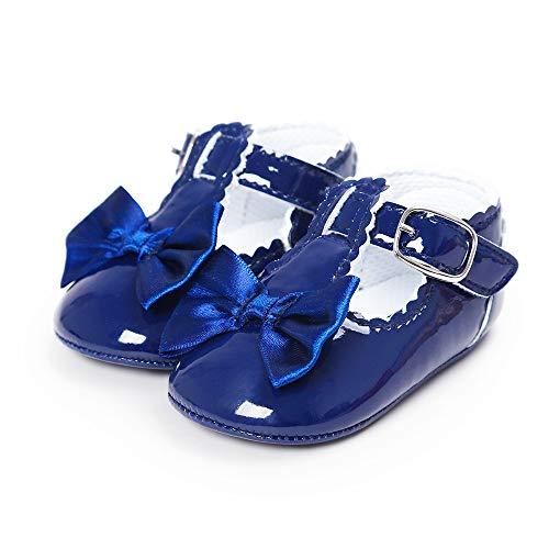 LACOFIA Scarpe da Primi Passi Bambina Scarpe da Battesimo Principessa Antiscivolo Bowknot della neonata Blu Scuro 6-12 Mesi