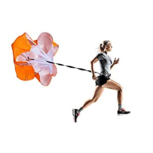 """Running Resistance Parachute by F1TNERGY Durable 56"""" Orange Speed Sprint Training Chute - Includes Carrying Bag - Maximize & Explosive Acceleration - Soccer Football Agility Ladder Speed Rope by F1TNERGY"""