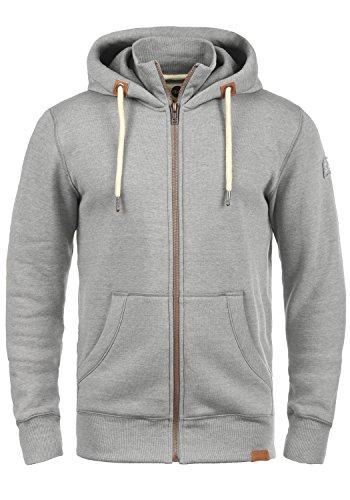 !Solid TripZip Herren Sweatjacke Kapuzenjacke Hoodie Mit Kapuze Reißverschluss Und Fleece-Innenseite, Größe:M, Farbe:Light Grey Melange (8242)