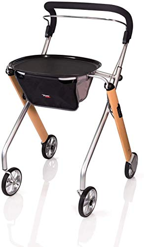 Stander Let's Go Indoor Rollator, Lightweight Four Wheel Euro Style Walker with Tray, Folding Mobility Aid for Seniors…