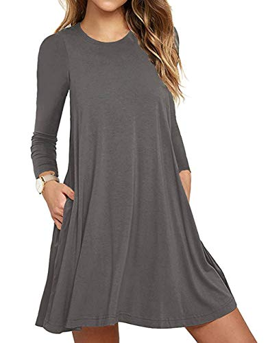 Unbranded* Women Long Sleeve Round Neck Summer Casual Loose Dress Gray Large