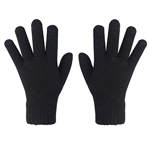 Non-slip Touchscreen Gloves, Women Winter Wram Double Layer Elastic Knittd Glvoes For Texting/Typing/Writing