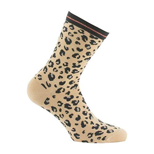 Kindy - Chaussettes motif léopard made in France - couleur - Beige - Pointure - 37-41