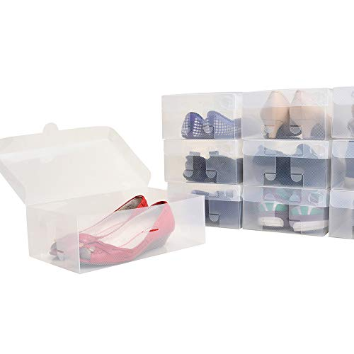 シューズボックス10箱入 女性用サイズ 透明クリアーケース 靴箱 収納 タテ30cm×ヨコ18cm×高さ10cm COMO STOCK
