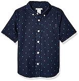 Amazon Essentials Kids Boys Short-Sleeve Woven Poplin Chambray Button-Down Shirts, Anchor Navy Palace, Medium
