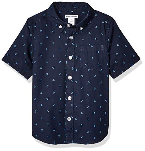 Amazon Essentials - Camicia a maniche corte in popeline/chambray, da bambino, Anchor Navy Palace, US L (EU 134-140 CM)
