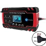 Caricabatterie intelligente per auto, 12 V, 8 A/24 V, 4 A, con display LCD per auto, camion, moto, tosaerba, barca, camper, e molto altro ancora