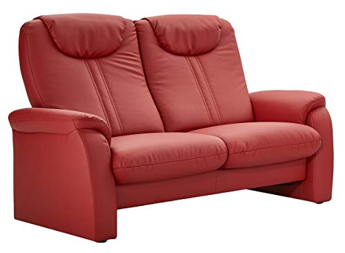 Cavadore 2-Sitzer Sofa Canta mit Relaxfunktion / Couch aus hochwertigem Kunstleder / 161 x 108 x 90 / Lederoptik Rot
