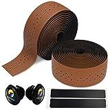 TOPCABIN 自転車バーテープ ロードバイクバーテープ PU/シリコーン エンドプラグ付き 2本セット (ブラウン-PUレザー)