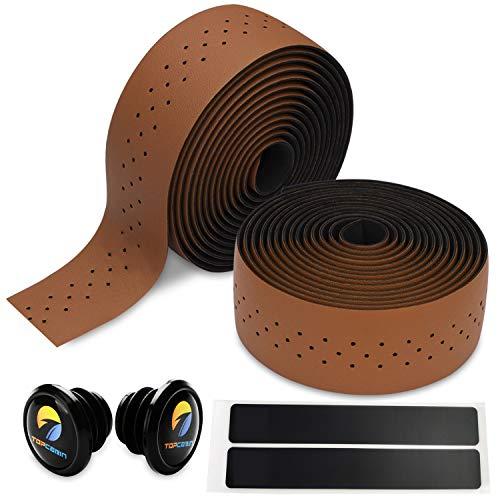 TOPCABIN 自転車バーテープ ロードバイクバーテープ PU/シリコーン エンドプラグ付き 2本セット (ブラウン-...