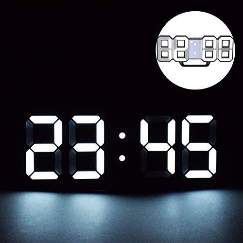 3D LED Digitalwecker, Digital 3D LED Tabelle Wecker 24/12 Stundenanzeige, LED Elektronische Wanduhr mit 3 einstellbaren Helligkeitstufen für Haus, Küche oder Büro