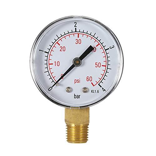 HUIJUAN 0-4bar / 0-60psi Compresor de aire Medidor de presión hidráulica Combustible Aire Aceite Medidor de alto vacío 1/4