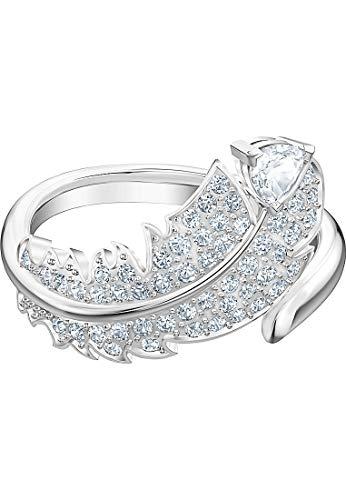 Swarovski Nice Motivring, Damenschmuck im Feder-Design mit Funkelnden Swarovski Kristallen