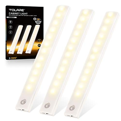 Tolare Luz LED Con Sensor De Movimiento Y Banda Magnética, Luz Armario Recargable De Gabinete Por USB 12 LEDs, Para Habitaciones De Niños, Dormitorios, Escaleras, Armarios - Blanco Cálido (3 Pack)