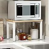 ZXCC Sencillo Cocina Estantería Microondas Encimera, Acero Almacenamiento Madera Estantes Utilidad Soportes Organizador Multiuso Especia Contador Gabinete Metálico Marco-a-Amarillo 2-Niveles