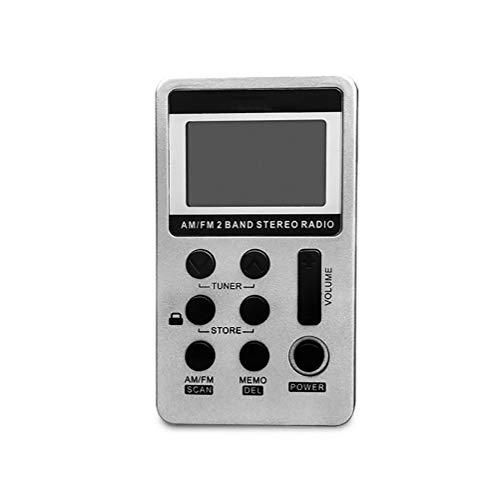 C- Mini-Radio Tragbarer AM/FM-Dualband-Stereo-Taschenradioempfänger mit LCD-Display, Kopfhörer und Akku zum Gehen, Joggen und Trainieren,Weiß