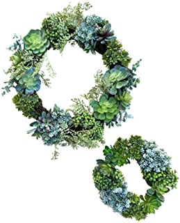 """18"""" Faux Succulent Wreath & 12"""" Mini Succulent Wreath (Set of 2) Wreath for Front Door, Kitchen, Wall and Tables Home Deco..."""