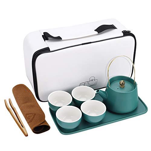fanquare Japanisches Tragbare Reise Tee Set,Vintage Kung Fu Teeservice für Erwachsene, Griff Teekanne, Vier Teetassen…