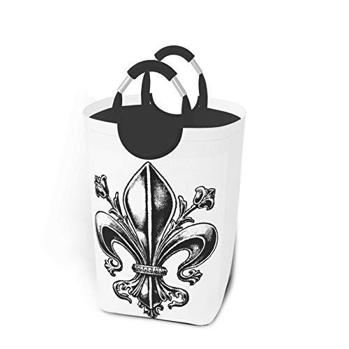KPJDWEDS Cesta de lavandería de flores de metal, cesta de ropa grande, plegable, tela Oxford, cesta de almacenamiento con asas para baño, habitación de niños, dormitorio, 50 l