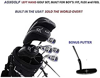 AGXGOLF Boys Left Hand XLT Magnum 13 Piece Complete Golf Set w460cc Driver +Fairway Wood + Hybrid +6,7,8 & 9 Irons + PW + Stand Bag+Free Putter Teen or Tween Length Built in The USA!