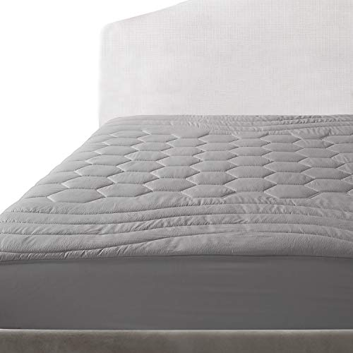 Bedsure Quilted Mattress Pad King Grey Fitted Sheet Mattress Cover, Super Soft, Luxury Mattress Pad Deep Pocket Stretches up to 18 Inches Deep
