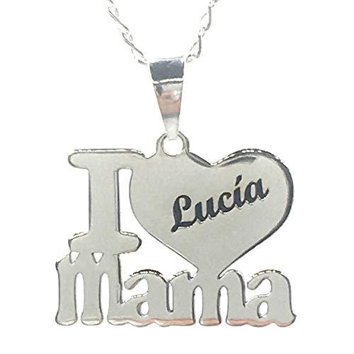 MASBARATA.ES Collar I Love MAMÁ con Nombre - Plata DE Ley
