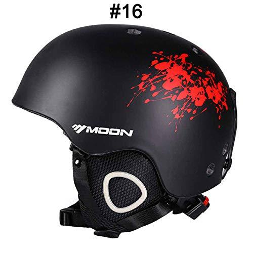 IAMZHL Skihelm Integrierter geformter Skihelm für Erwachsene und Kinder Schneehelm Skateboard Ski Snowboard Helm-Red Ink-XL