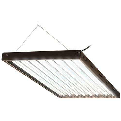 Hydrofarm Agrobrite Designer T5, FLP48, 432W 4 Foot, 8-Tube Fixture with Lamps, Black