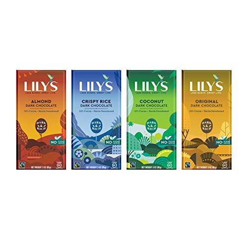 Barra de chocolate negro de 55 % de la marca Lily's Sweets, endulzado por Stevia, sin azúcar añadido, baja en carbohidratos, apto para Keto, 55 % cacao, comercio justo, sin gluten y sin OMG, paquete de 4 unidades