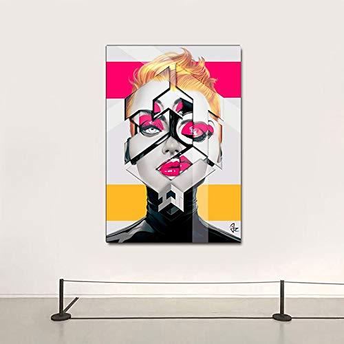 Abstrakte Graffiti Wandkunst bunte Frauen Malerei Leinwand Malerei Druck Poster Schlafzimmer Wohnzimmer modernes Zuhause rahmenlose dekorative Malerei A52 50x70cm